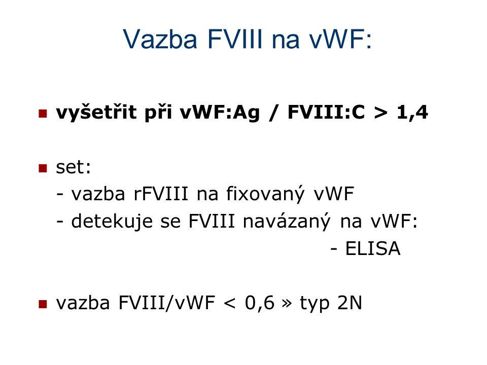 Vazba FVIII na vWF: vyšetřit při vWF:Ag / FVIII:C > 1,4 set: