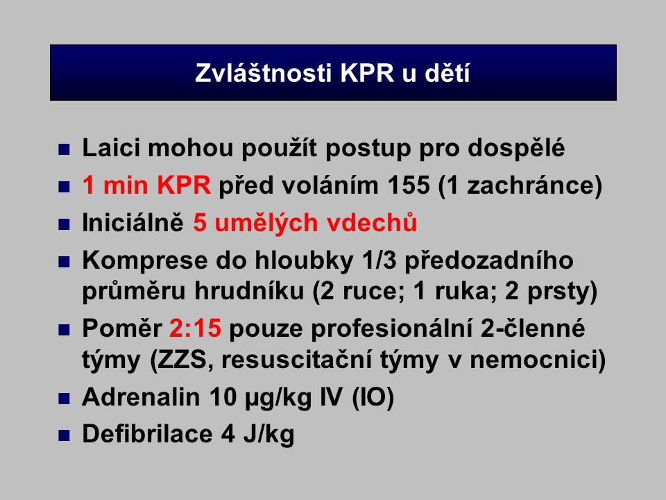 Zvláštnosti KPR u dětí Laici mohou použít postup pro dospělé. 1 min KPR před voláním 155 (1 zachránce)