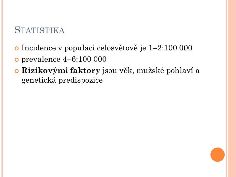 Statistika Incidence v populaci celosvětově je 1–2:100 000