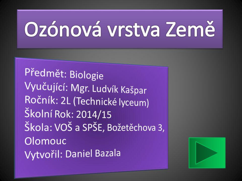 Ozónová vrstva Země Předmět: Biologie Vyučující: Mgr. Ludvík Kašpar