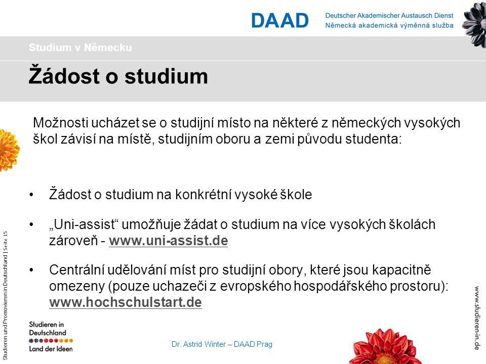Studium v Německu Žádost o studium.