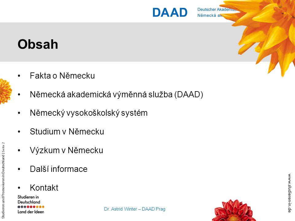 Obsah Fakta o Německu Německá akademická výměnná služba (DAAD)