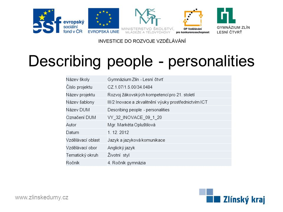 Describing people - personalities