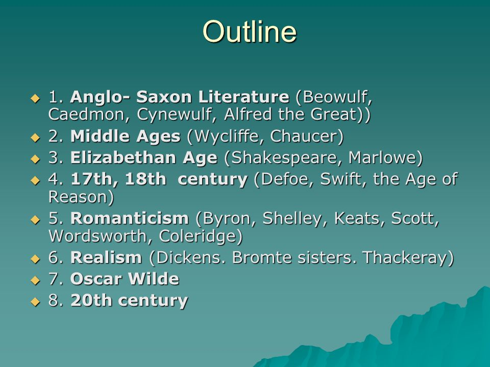 Outline 1. Anglo- Saxon Literature (Beowulf, Caedmon, Cynewulf, Alfred the Great)) 2. Middle Ages (Wycliffe, Chaucer)