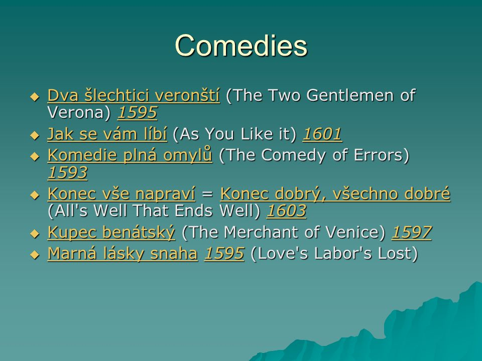 Comedies Dva šlechtici veronští (The Two Gentlemen of Verona) 1595