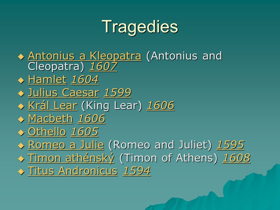 Tragedies Antonius a Kleopatra (Antonius and Cleopatra) 1607