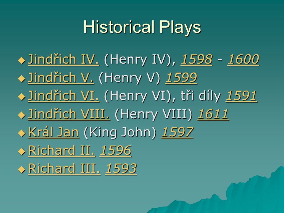 Historical Plays Jindřich IV. (Henry IV), 1598 - 1600