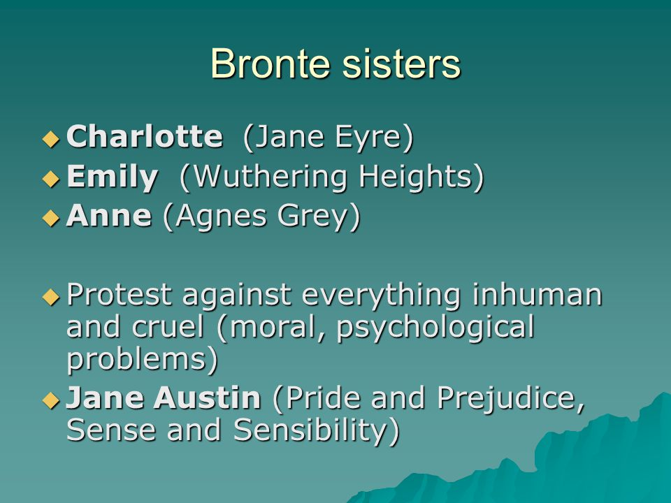 Bronte sisters Charlotte (Jane Eyre) Emily (Wuthering Heights)