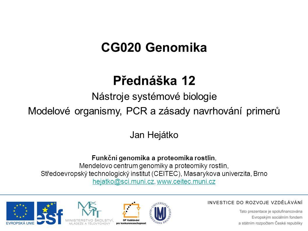 CG020 Genomika Přednáška 12 Nástroje systémové biologie
