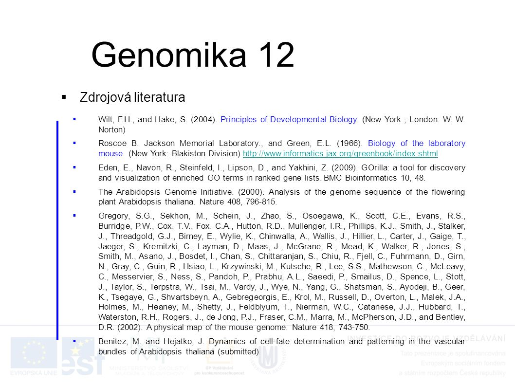 Genomika 12 Zdrojová literatura