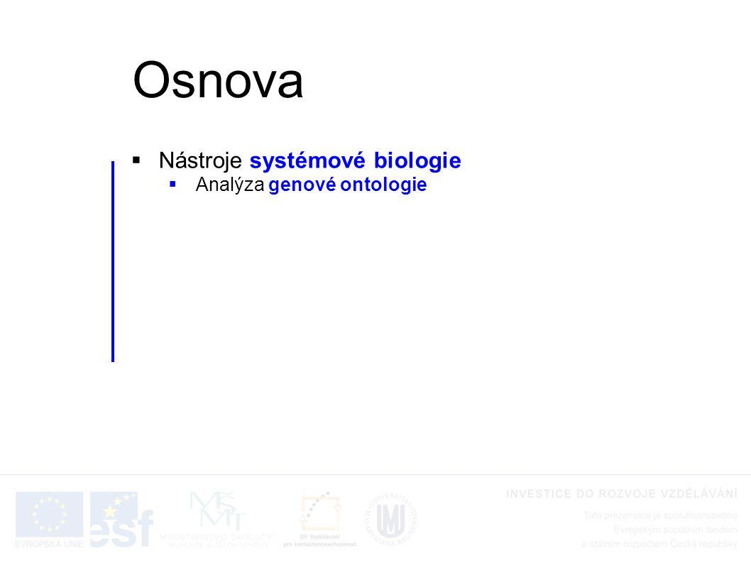Osnova Nástroje systémové biologie Analýza genové ontologie
