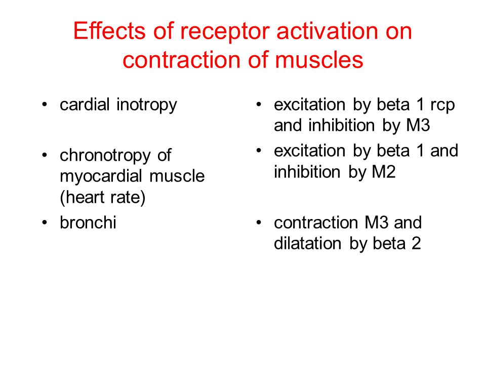 Effects of receptor activation on contraction of muscles