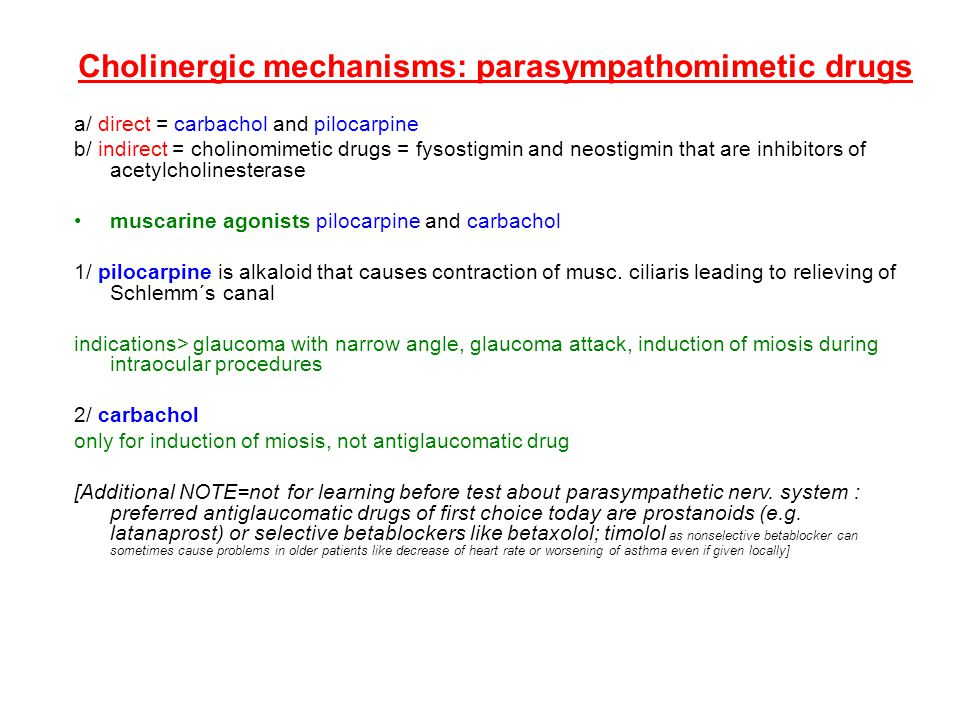 Cholinergic mechanisms: parasympathomimetic drugs