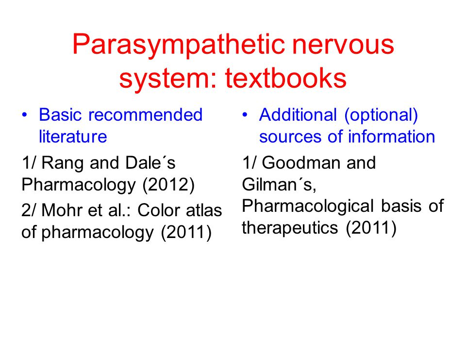 Parasympathetic nervous system: textbooks