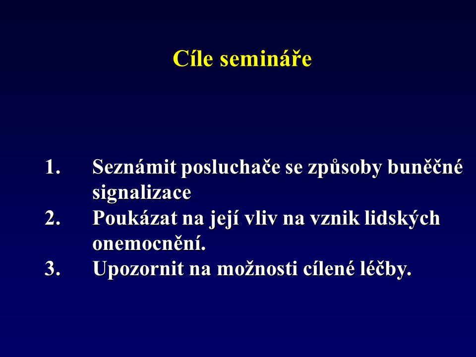 Cíle semináře 1. Seznámit posluchače se způsoby buněčné signalizace