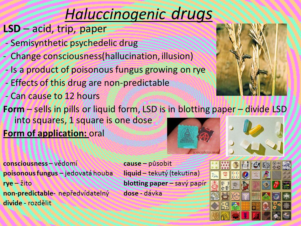 Haluccinogenic drugs LSD – acid, trip, paper