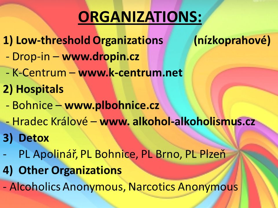 ORGANIZATIONS: 1) Low-threshold Organizations (nízkoprahové)