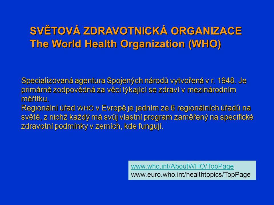 SVĚTOVÁ ZDRAVOTNICKÁ ORGANIZACE The World Health Organization (WHO)