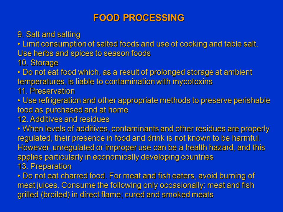 FOOD PROCESSING 9. Salt and salting