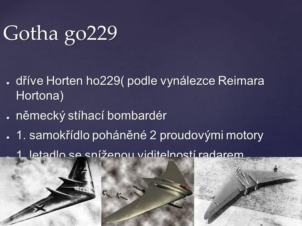 Gotha go229 dříve Horten ho229( podle vynálezce Reimara Hortona)
