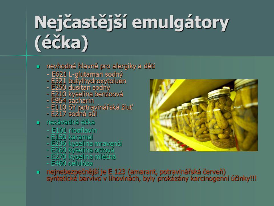 Nejčastější emulgátory (éčka)