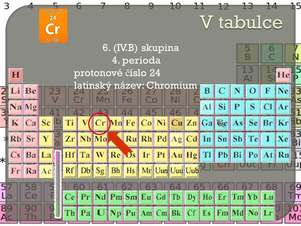 V tabulce 6. (IV.B) skupina 4. perioda protonové číslo 24
