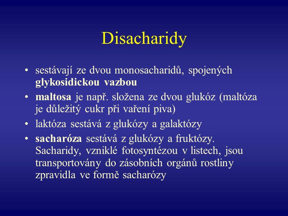Disacharidy sestávají ze dvou monosacharidů, spojených glykosidickou vazbou.