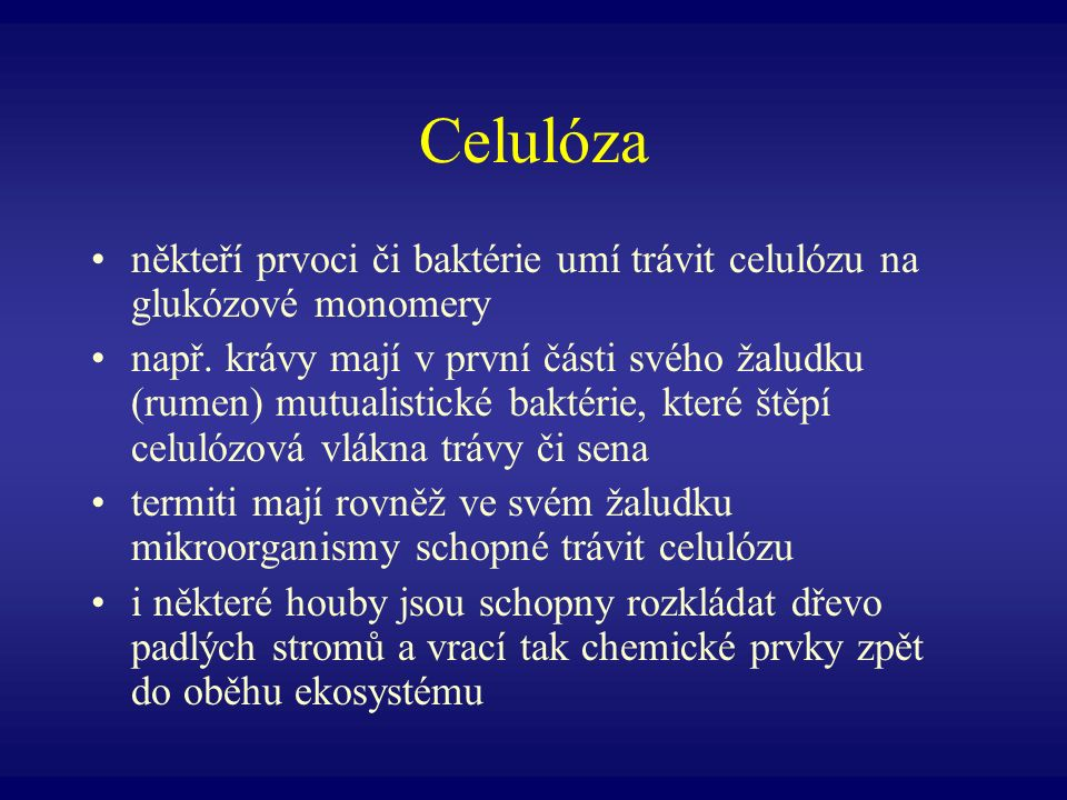 Celulóza někteří prvoci či baktérie umí trávit celulózu na glukózové monomery.