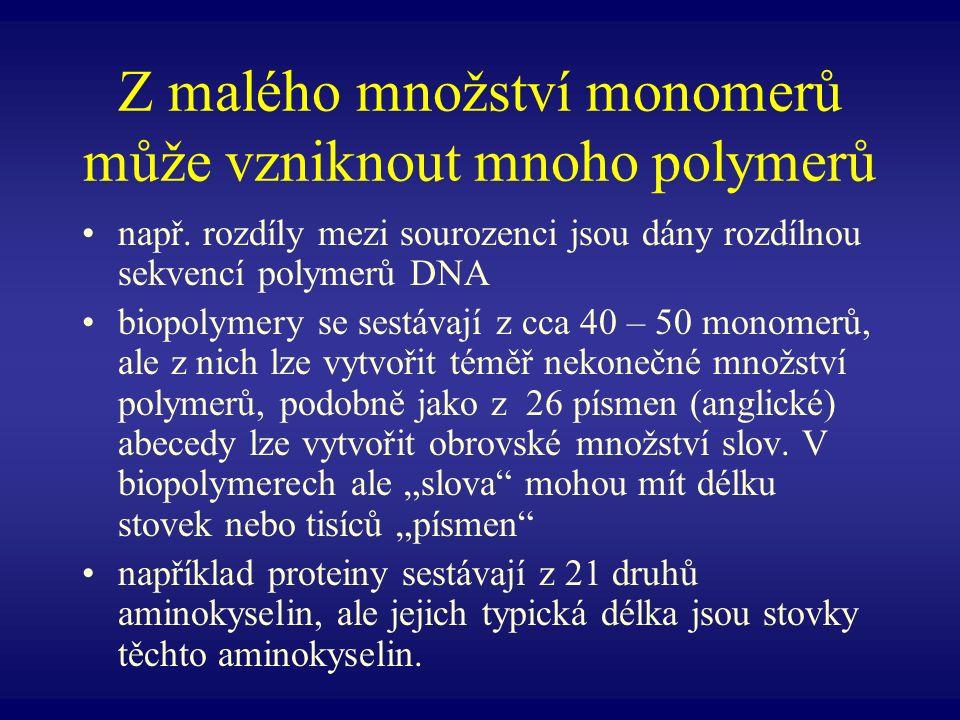 Z malého množství monomerů může vzniknout mnoho polymerů