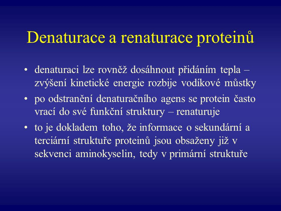 Denaturace a renaturace proteinů