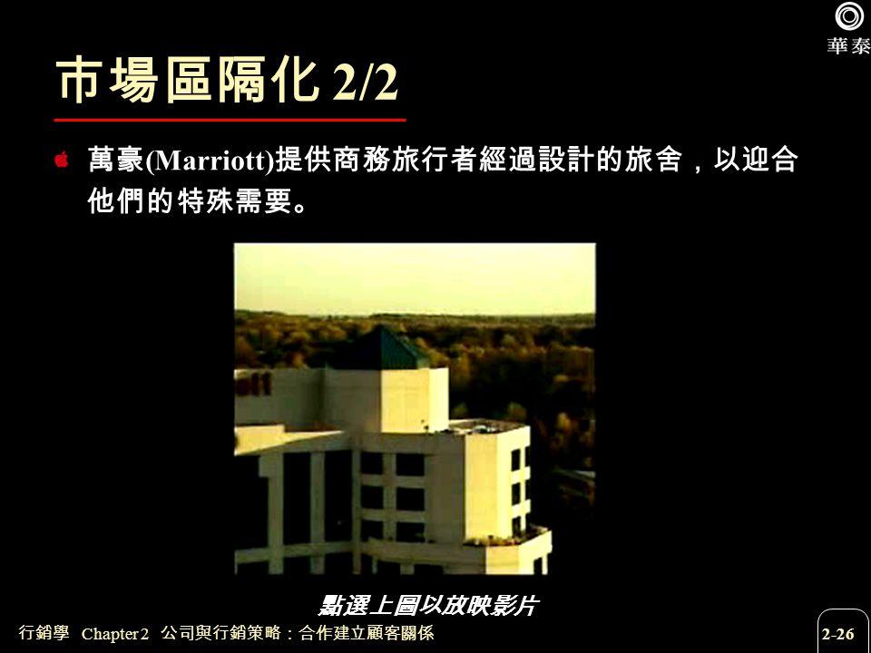 市場區隔化 2/2 萬豪(Marriott)提供商務旅行者經過設計的旅舍,以迎合他們的特殊需要。 點選上圖以放映影片 點選上圖以放映影片