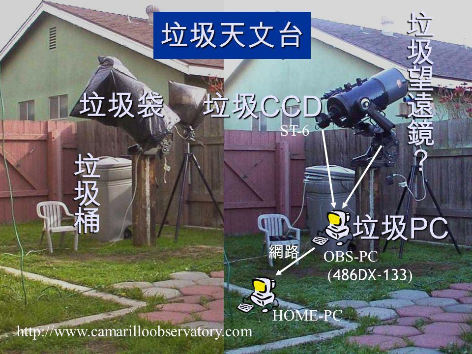 垃圾望遠鏡? 垃圾天文台 垃圾袋 垃圾CCD 垃圾桶 垃圾PC ST-6 網路 OBS-PC (486DX-133) HOME-PC