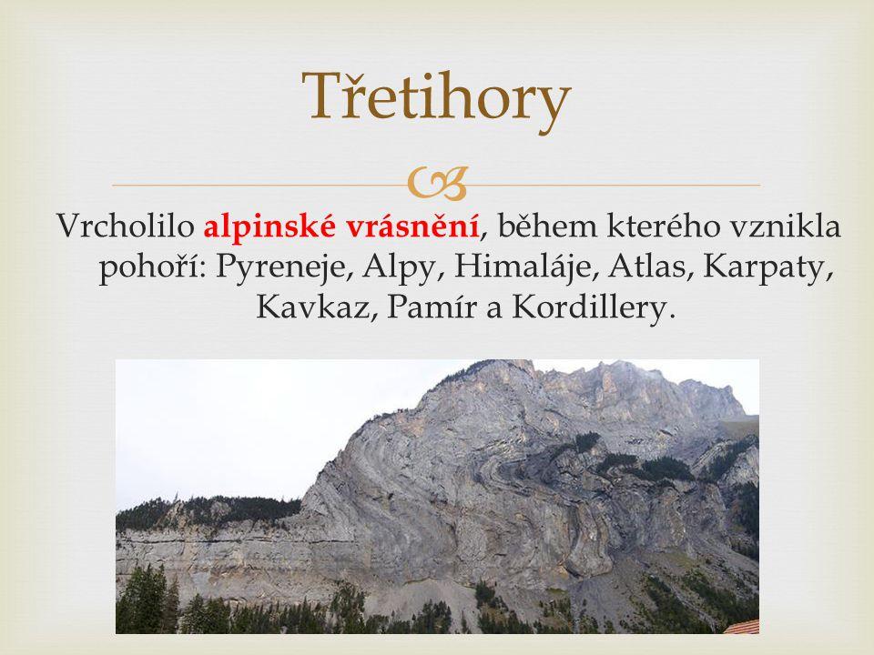 Třetihory Vrcholilo alpinské vrásnění, během kterého vznikla pohoří: Pyreneje, Alpy, Himaláje, Atlas, Karpaty, Kavkaz, Pamír a Kordillery.