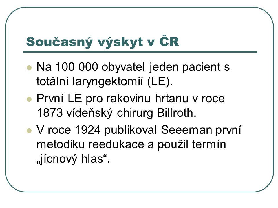 Současný výskyt v ČR Na 100 000 obyvatel jeden pacient s totální laryngektomií (LE).