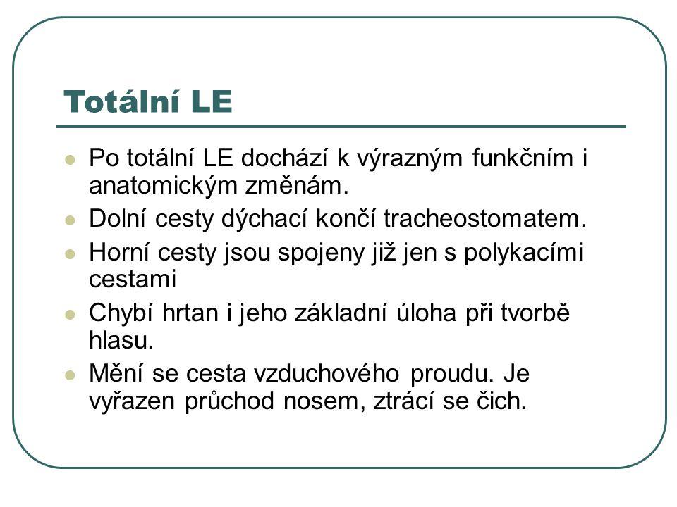 Totální LE Po totální LE dochází k výrazným funkčním i anatomickým změnám. Dolní cesty dýchací končí tracheostomatem.