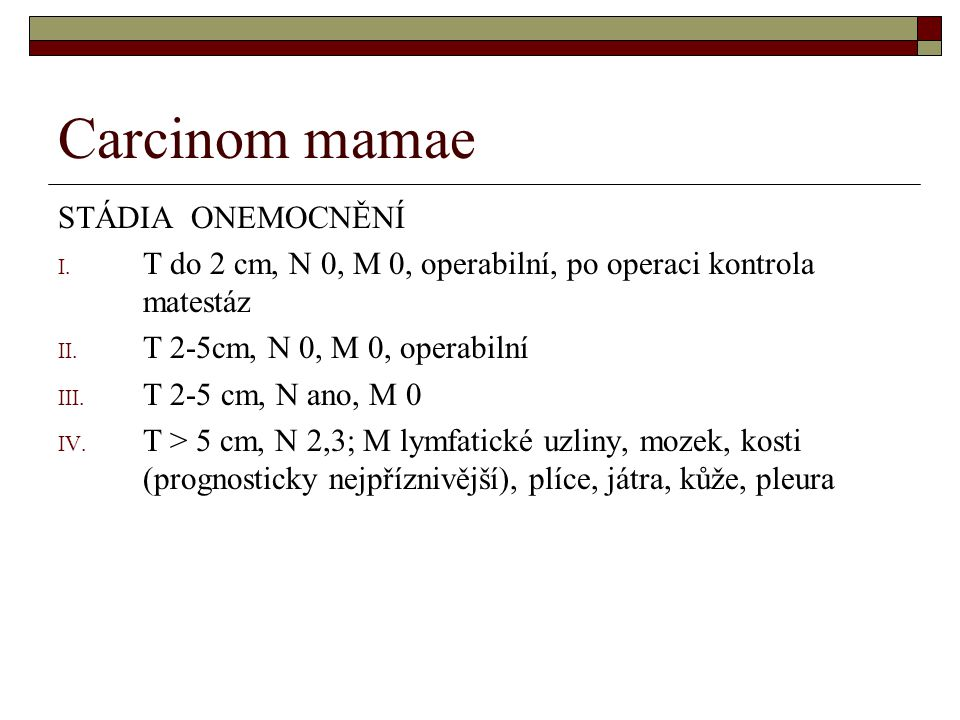 Carcinom mamae STÁDIA ONEMOCNĚNÍ
