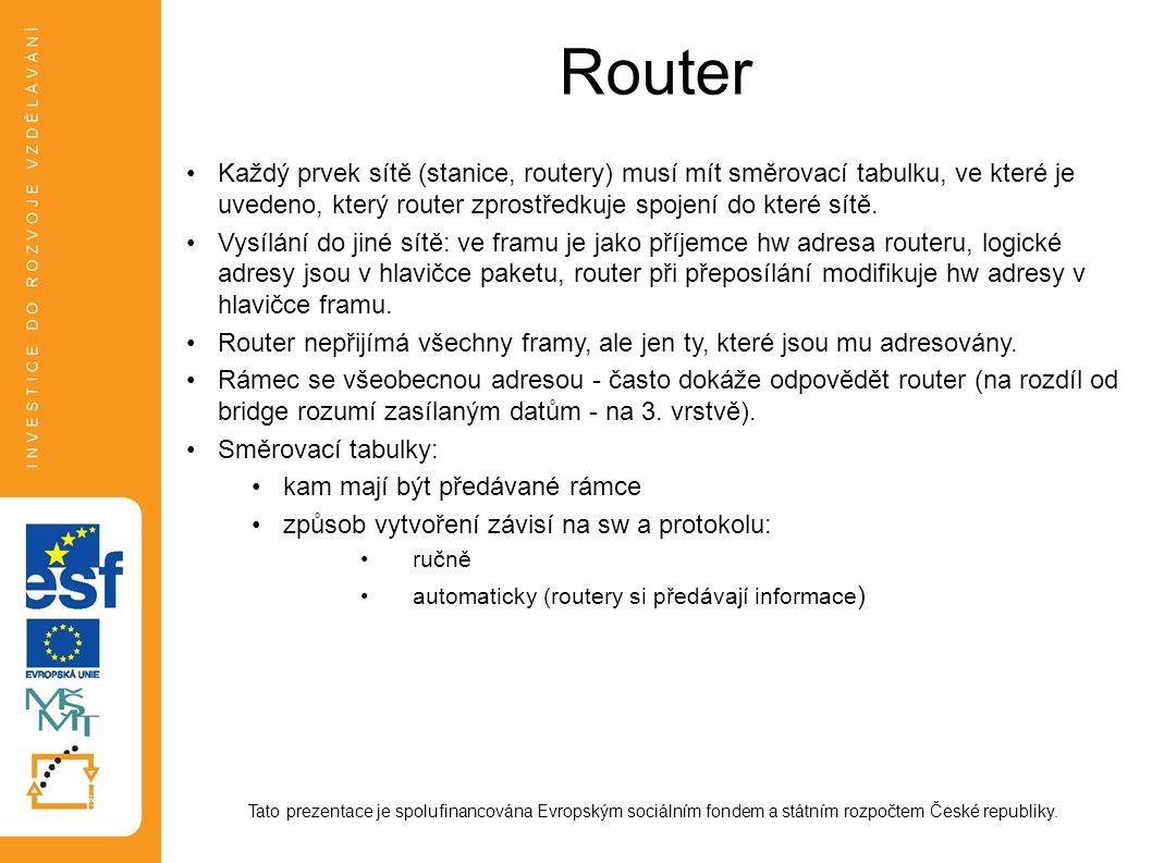 Router Každý prvek sítě (stanice, routery) musí mít směrovací tabulku, ve které je uvedeno, který router zprostředkuje spojení do které sítě.