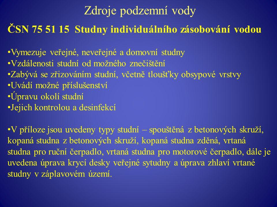 Zdroje podzemní vody ČSN 75 51 15 Studny individuálního zásobování vodou. Vymezuje veřejné, neveřejné a domovní studny.