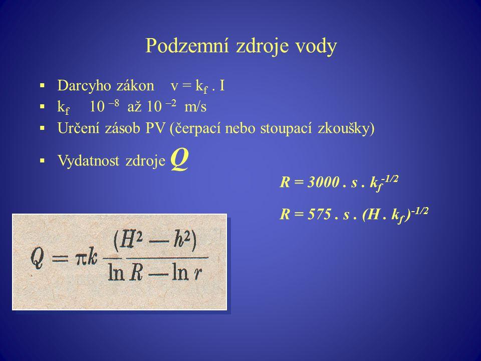 Podzemní zdroje vody Darcyho zákon v = kf . I kf 10 –8 až 10 –2 m/s