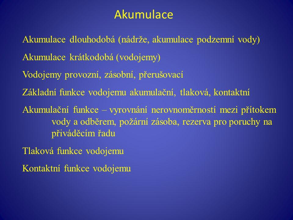 Akumulace Akumulace dlouhodobá (nádrže, akumulace podzemní vody)