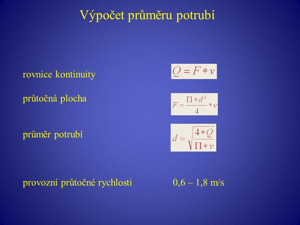 Výpočet průměru potrubí