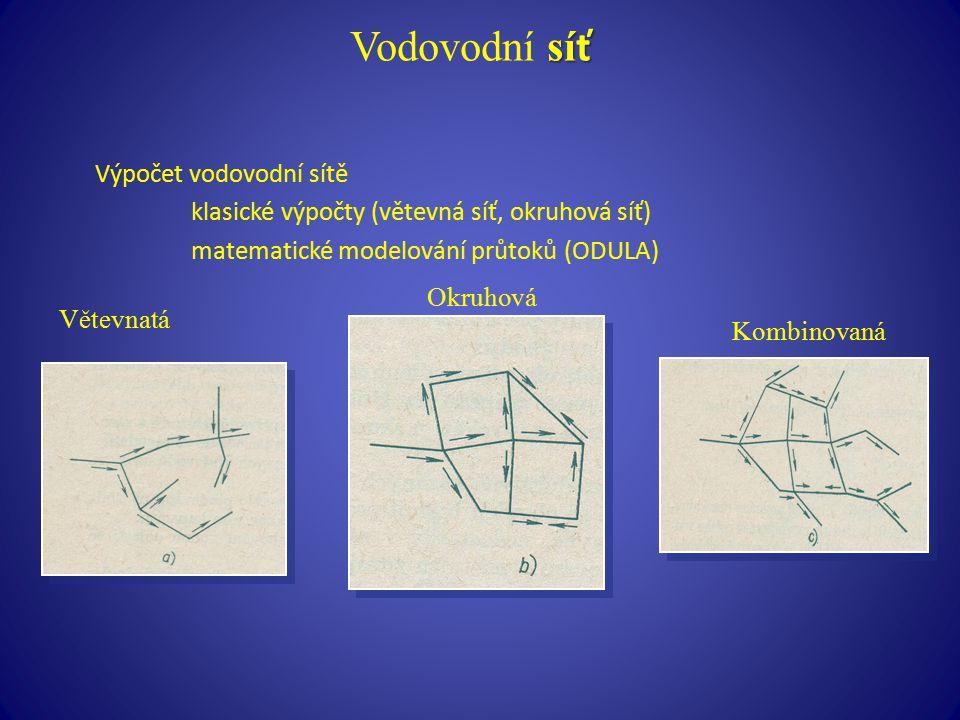 Vodovodní síť Výpočet vodovodní sítě