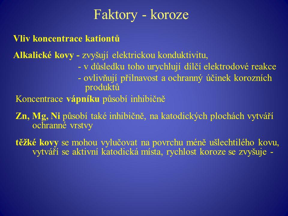 Faktory - koroze Vliv koncentrace kationtů