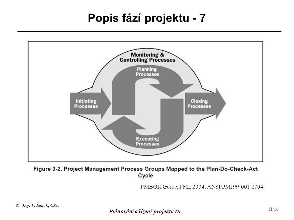 Popis fází projektu - 7 PMBOK Guide, PMI, 2004, ANSI/PMI 99-001-2004