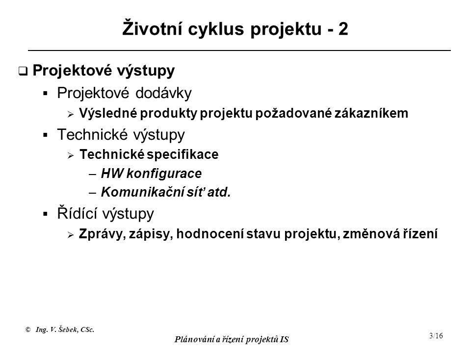 Životní cyklus projektu - 2