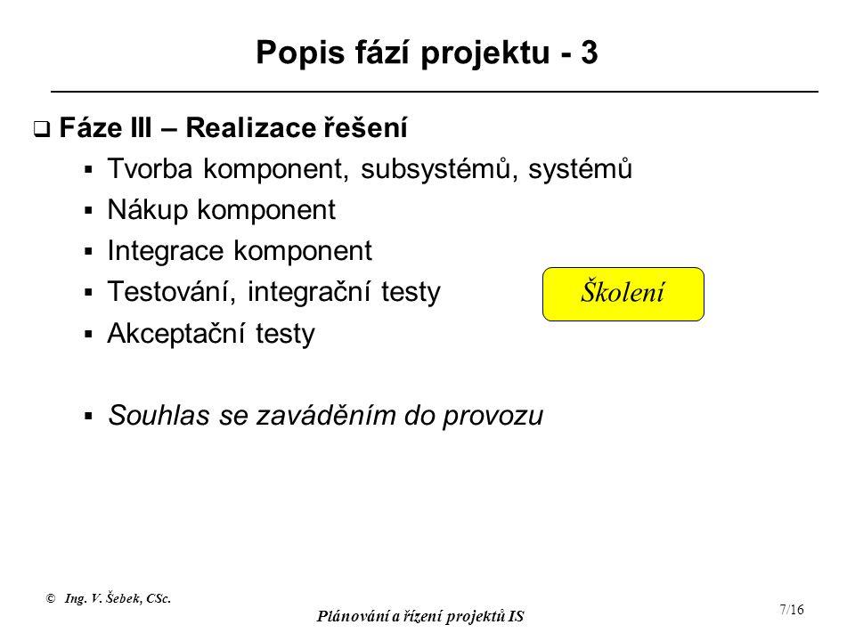 Popis fází projektu - 3 Fáze III – Realizace řešení