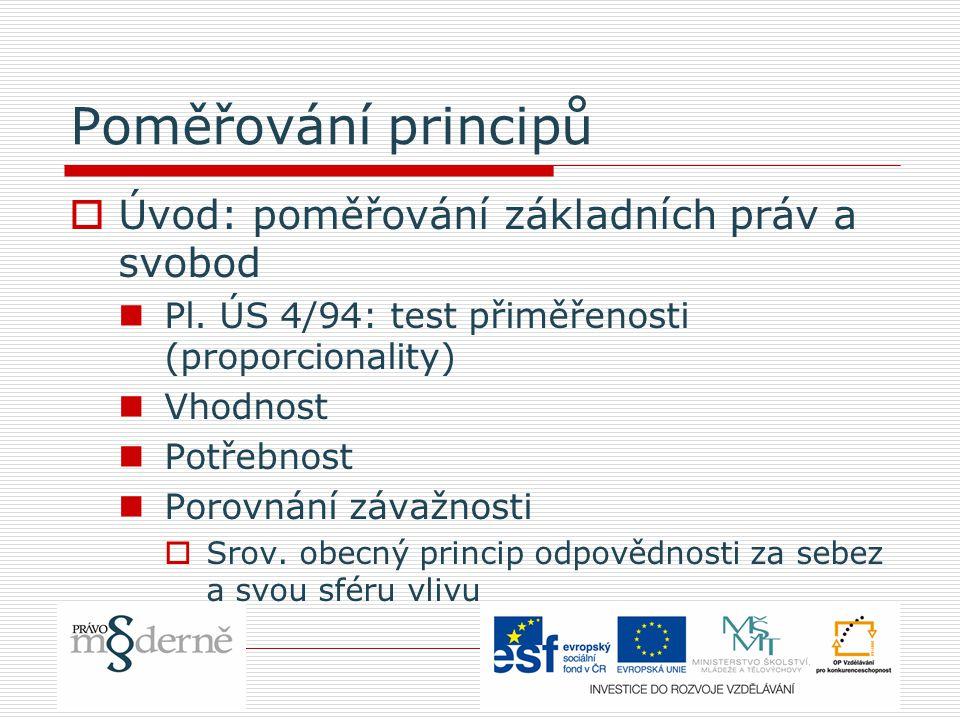 Poměřování principů Úvod: poměřování základních práv a svobod