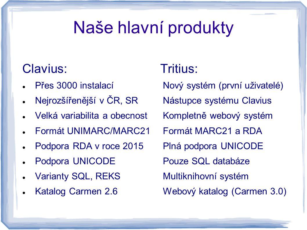 Naše hlavní produkty Clavius: Tritius: Přes 3000 instalací