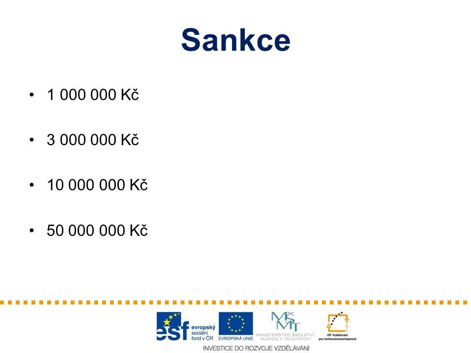 Sankce 1 000 000 Kč 3 000 000 Kč 10 000 000 Kč 50 000 000 Kč