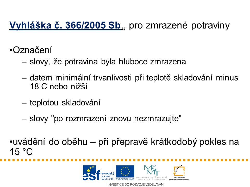 Vyhláška č. 366/2005 Sb., pro zmrazené potraviny